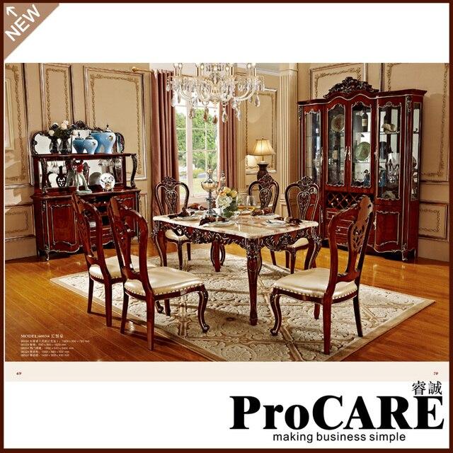 I prezzi con legno sedia da pranzo tavolo da pranzo in marmo coperta ...