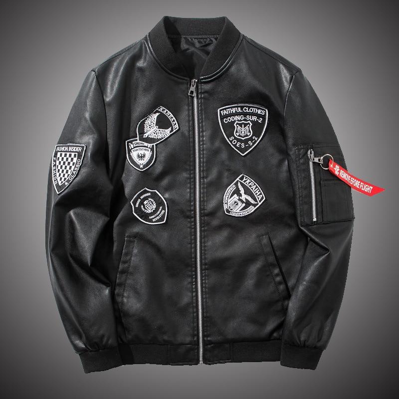 Bomber PU Leather Jaket Men Biker Military Baseball Jackets Streetwear Hip Hop 2018 Fashion Fall Black Leather Coat for Men S110
