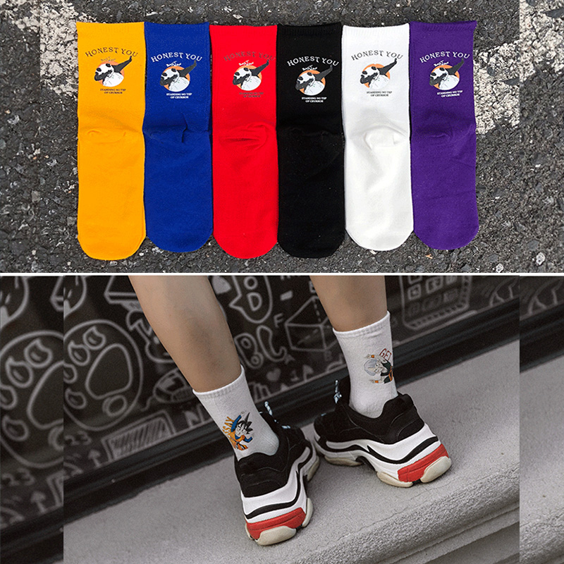 Men's Socks Cartoon College Sports Cotton Breathable Socks Purple Couple Skateboard Socks 2019 New Casual Socks