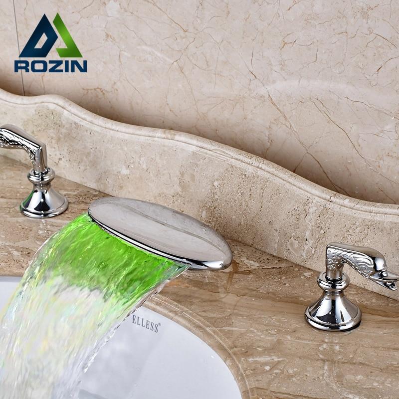 Роскошные гамма светодиодные Водопад смеситель кран двойной ручкой латунь Chrome Ванная комната смесители