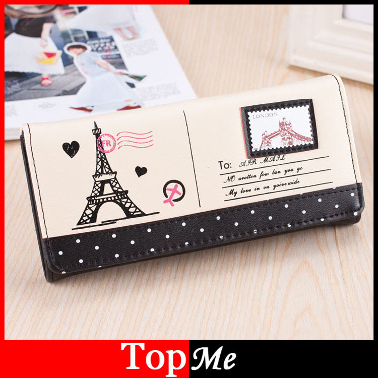 Women Wallets Hasp PU Leather Lady Handbags Cards Holder Money Bags Towers London Woman Long Clutch Coin Purse Notecase Burses