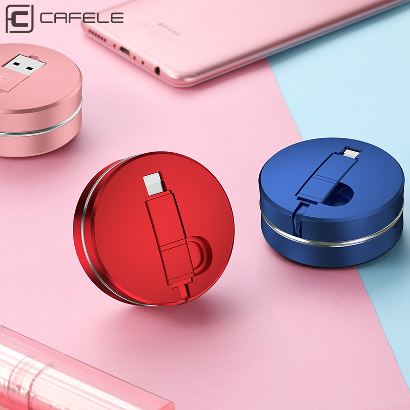 Cafele 2in1 Cable USB para iPhone 7 6X8 y Cable Micro USB retráctil portátil Cable de carga USB para iPhone 6 7 8 X