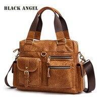 BLACK ANGEL Genuine Leather Men Bags Retro Nubuck Leather Handbag Male Casual tote shoulder Crossbody bags