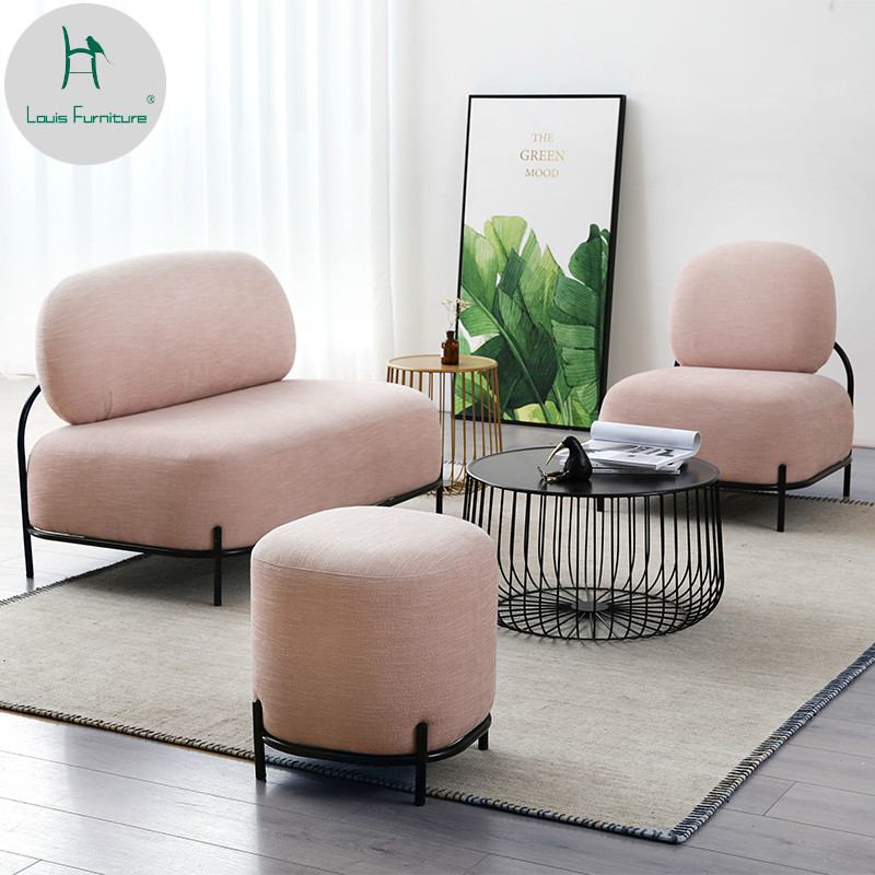 US $316.9 |Louis Fashion Living Room Sofas Nordic Fabric Small Apartment  Furniture Modern Simple Leisure Lounge Cafe Milk Tea Shop-in Living Room ...