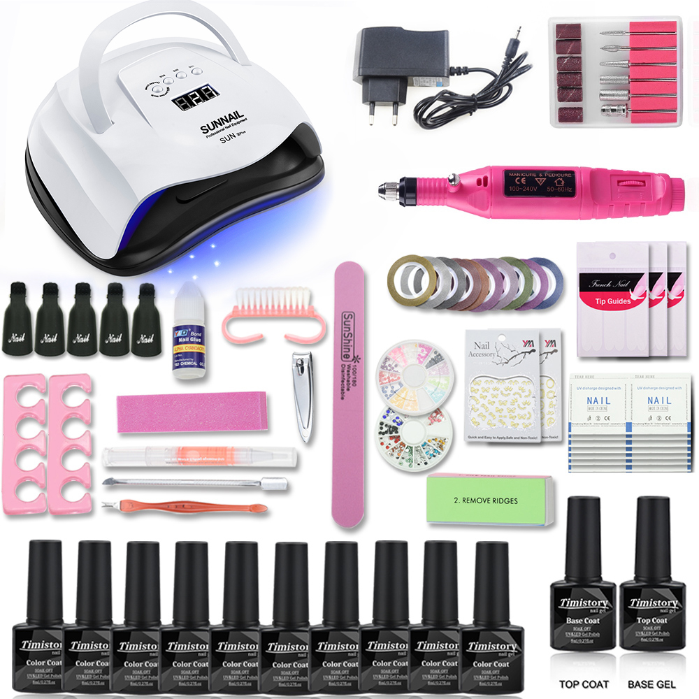 Nail Set 80/54/36W UV Led Lamp Set With Electric Nail Drill Machine Manicure Tools 10 Colors Nail Gel Polish 1 Base 1 Top Kit