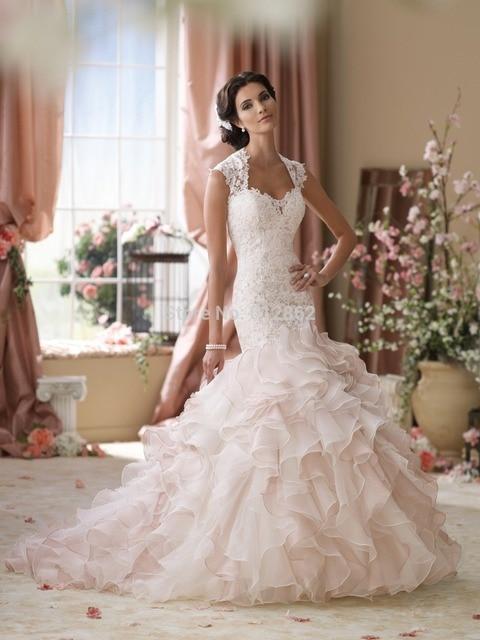 307d627047437 Sleeveless Ivory Lace Bodice Light Pink Organza Blush Mermaid Wedding Dress
