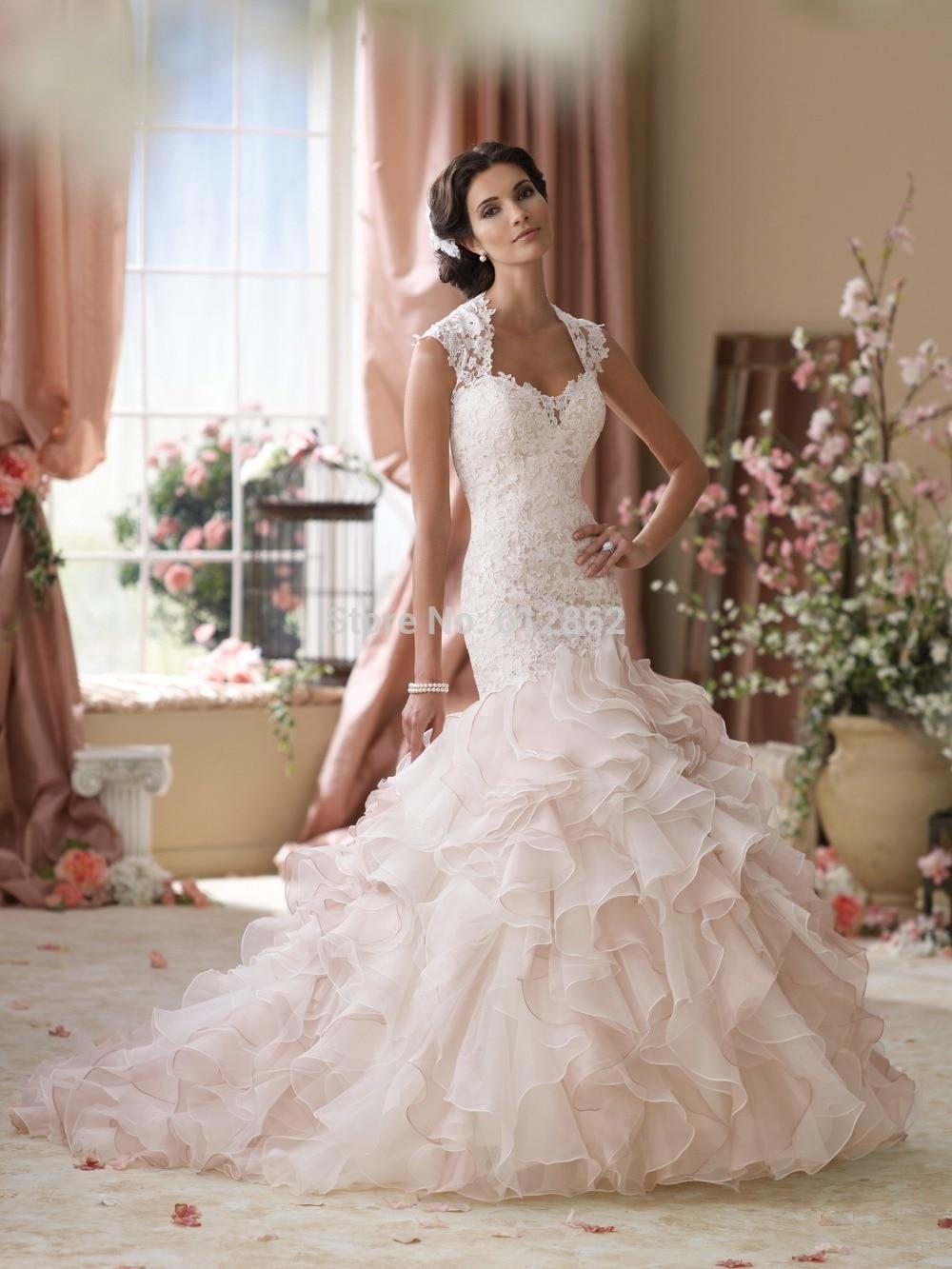 blush pink wedding dress blush colored wedding dresses Eva Lendel bridal sheer cap sleeves sheer jewel neck sweetheart neckline heavily embellished bodice blush color romantic a line wedding dress open v