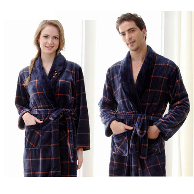 7daa957634 Robe sexy The new flannel nightgown bathrobe couple pajamas home service  robes men and women of