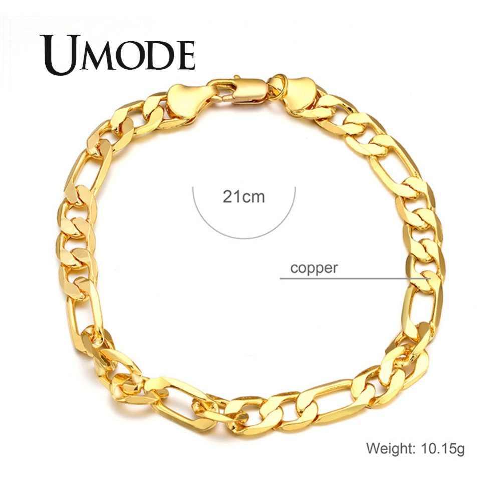 UMODE 2018 nowy moda bez rękawów bransoletki i łańcuszki na rękę dla mężczyzn bransoletka złoty luksusowe łańcuch biżuteria męska akcesoria Bijoux homara AUB0140