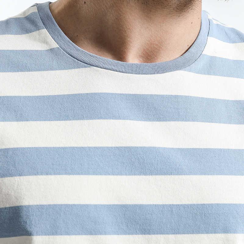 SIMWOOD 新メンズ Tシャツファッション O-ネック半袖スリムフィットブルーストライプ Tシャツの男トップ Tシャツプラスサイズ送料無料 TD1034