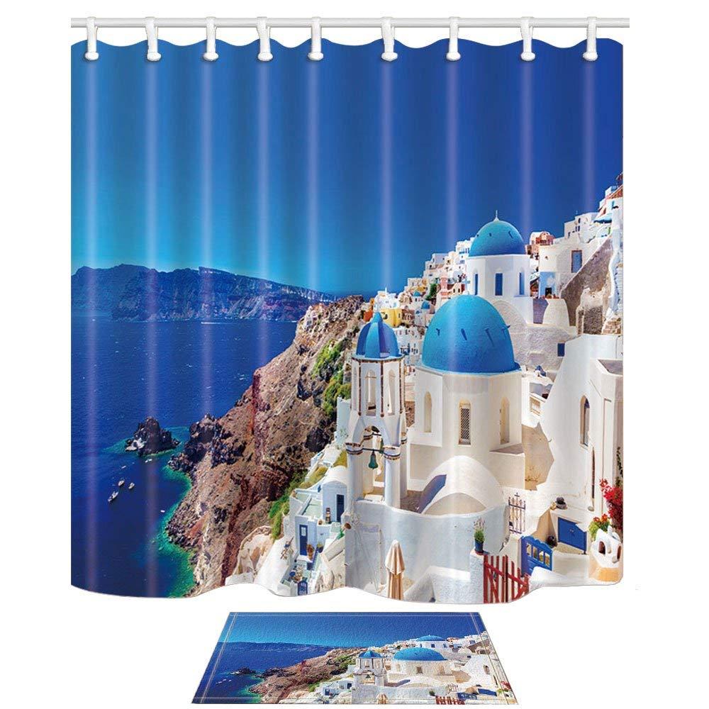 Decoración de la ciudad europea, traje de cortina de ducha de moho de palacio de piedra de paisaje de Santorini Grecia con alfombras de baño de Felpudo de suelo NEO Coolcam Smart Home Z Wave Plus, interruptor inteligente de cortina para cortina eléctrica motorizada, persiana enrollable