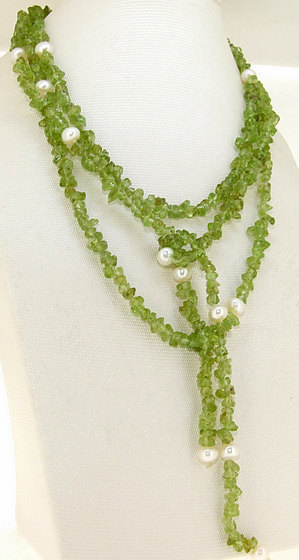 Perfect Women's Pearl Jewelry, Single White Freshwater Cultured Pearl Natural Olive Beads Green Necklace 50inches