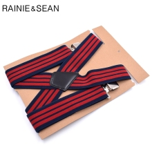 RAINIE SEAN Suspenders For Shirt Plus Size 120cm Red Stripe Men Wide 5cm Clips X Back Mens Braces Trousers