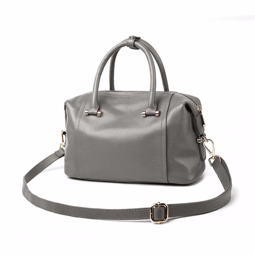 2018 new classic Boston leather handbags first layer hand shoulder bag hot ladies genuine shoulder bag womens Bolsos Mujer