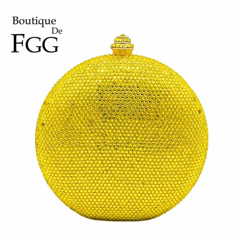 Round Wine Pot Yellow Crystal Clutch Evening Bag Mini Metal Minaudiere Clutches Wedding Party Bridal Shoulder Handbag Purse