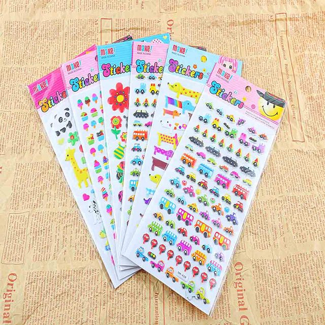 10 pcs diy 3d bubble stickers cartoon animal print decoration sticker scrapbooking diary kid gift teachers