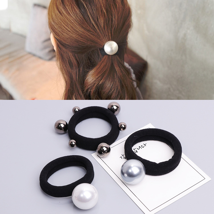 2pcs Girls Large Size Pearl Elastic Hair Rubber Bands Hair Accessories Gum For Women Ties Hair Ring Rope Ponytail Holder
