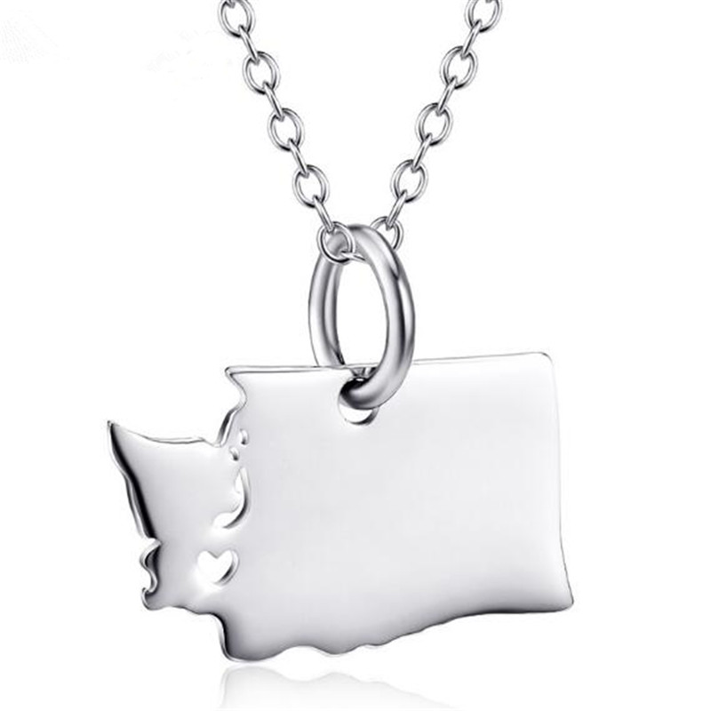 US State Map Necklace 925 Sterling Silver New york Washington Necklace Women Men Gift