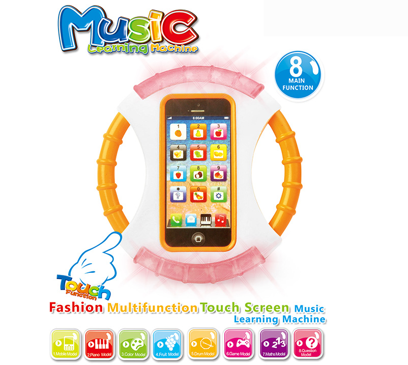 english language educational Music learning toys Multifunction Touch Screen baby toy phone funny game With light ,2 Colors mixed