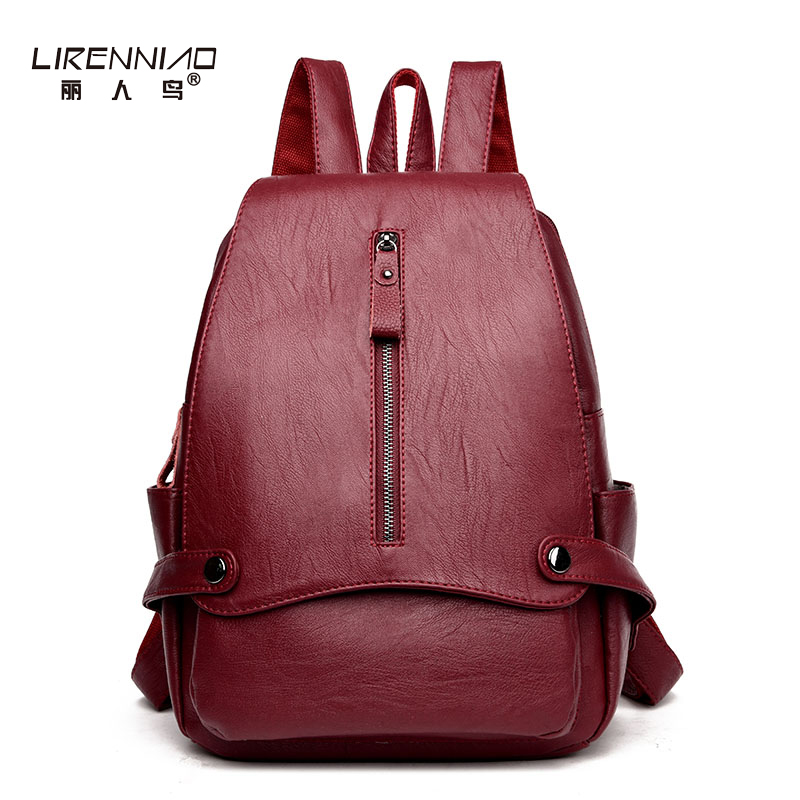 LIRENNIAO Fashion Designer High Quality Leather Solid Backpack Women Preppy School Bag For Teenagers Travel Bags Girls Backpacks purple flowers printed dream teenagers backpack fresh preppy adorable sthdents school bags fashion travel hiking computer bag
