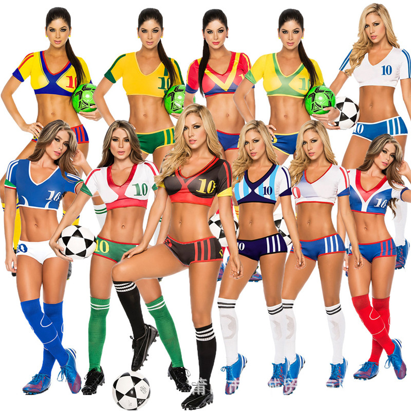 2018 Football Cheerleading Uniforms Women Cheerleader Team Set Suit Costume Soccer Baby Football Girl Shorts Tops Cheer Sports