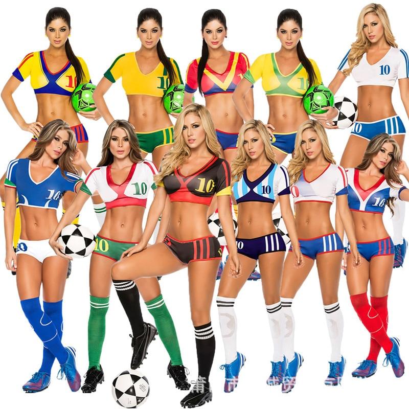 2018 Football Cheerleading Uniforms Women Cheerleader Team Set Suit Costume Soccer Baby Football Girl Shorts Tops Cheer Sports