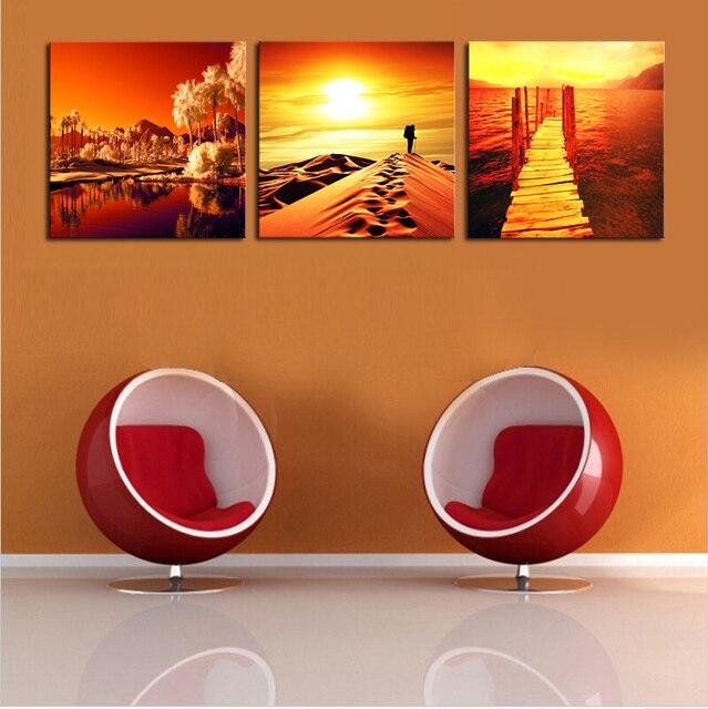 2017 Hot Sale Cheap Wall Frames 3 Panels Golden Picture Art Hd ...