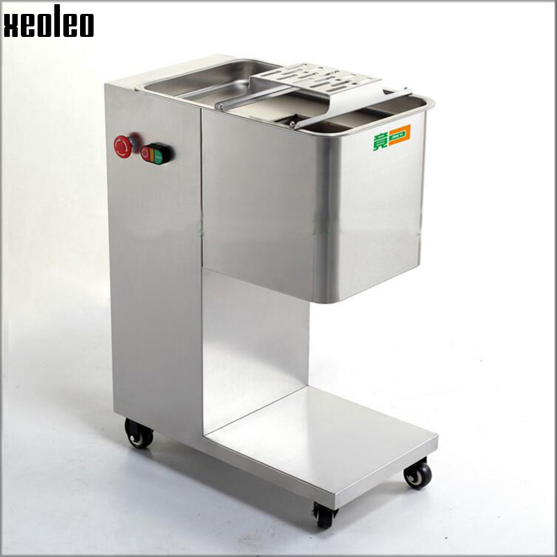 Xeoleo 300~500kg/h Meat Slicer machine Commercial Slicer machine 2~20mm thickness Stainless steel Meat cutter 550W 220V/110V free shipping 220v 110v qe meat cutter machine with pulley meat slicer all stainless steel blades