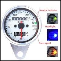 Free Shipping Universal Motorcycle LED Dual Odometer Speedometer Gauge For Harley Honda Kawasaki Suzuki Yamaha Street