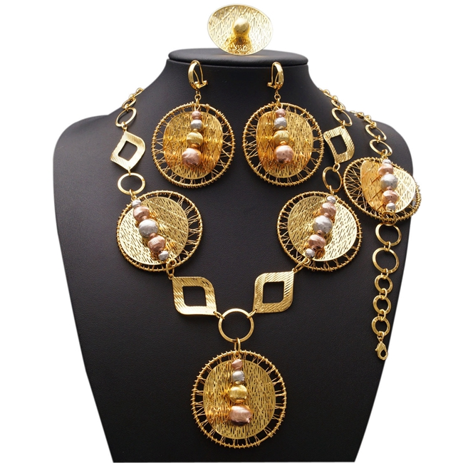 YULAILI New Fashion African Beads Jewelry Set Exquisite Dubai Pure Gold Color Jewelry Set Nigerian Wedding Bridal BijouxYULAILI New Fashion African Beads Jewelry Set Exquisite Dubai Pure Gold Color Jewelry Set Nigerian Wedding Bridal Bijoux