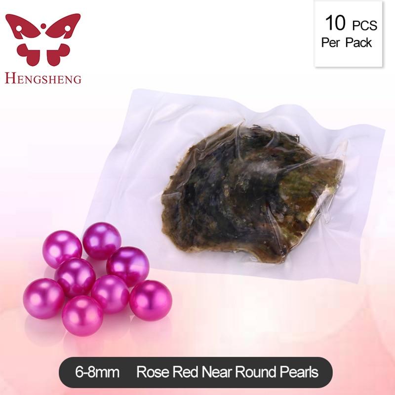 6-8mm ronde akoya huîtres avec perles rondes, rose rouge couleurs 10 pcs/pack, naturel perles d'eau salée perles pour colliers femmes
