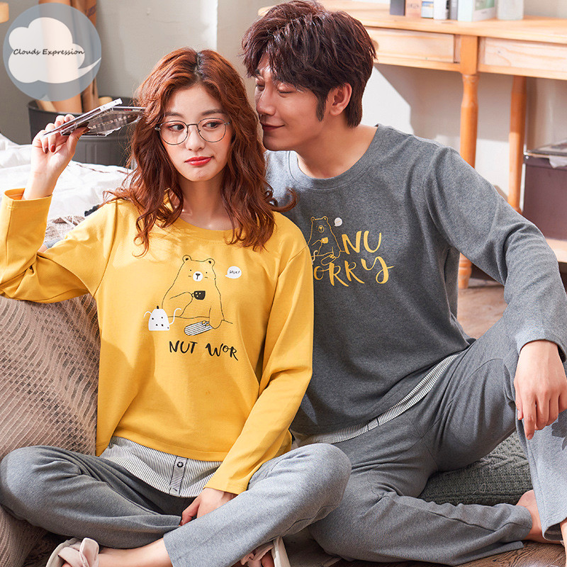 Spring Autumn Knitted Cotton Cartoon Men's Pyjamas Couple   Pajamas     Set   Casual Women's Sleepwear Night Pijamas 3XL Home Clothing