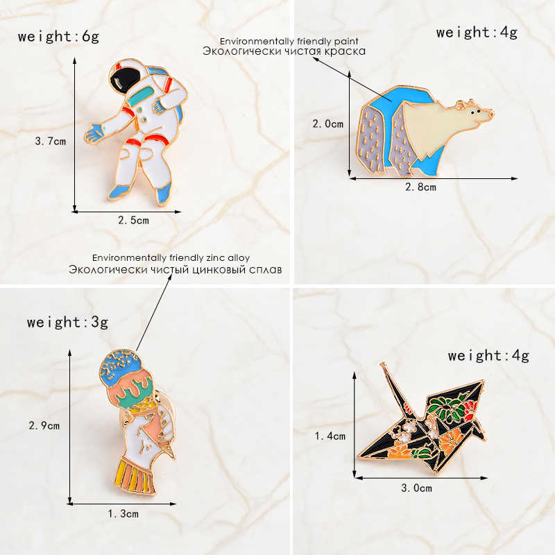 Del fumetto Spilli orso Polare Astronauta Fiore crane Mano con ice cream Spilli Distintivi e Simboli smalto Duro risvolto Spilli Spille