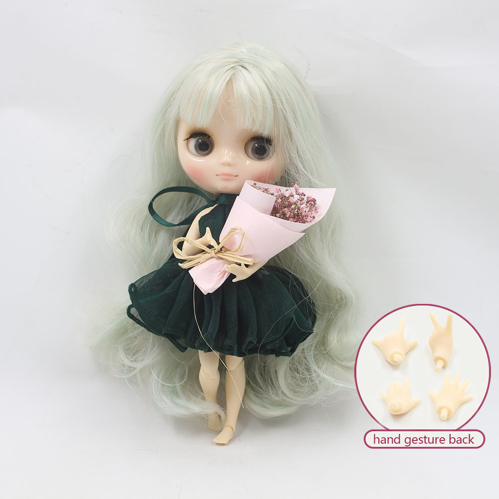 Nude middie blyth joint doll light green hair Transparent face suitable DIY gift for girl like the icy doll middle blyth