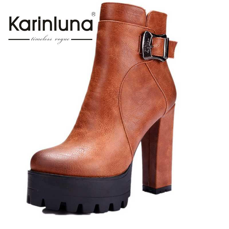 ФОТО Big Size 34-42 Women Ankle New Boots Buckle Zipper Skid-proof Square High Heels Shoes Woman Autumn Winter Cowboy Style Boots