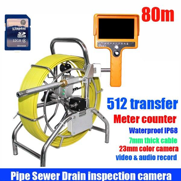 80 m Fognario Tubo di Ispezione Sistema di Telecamere Tubo di Acqua E Sistema di Monitoraggio Con DVR meter contatore e 512 hz di trasferimento