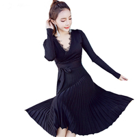 New Sexy Deep V Neck Sweater Pleated Dress Women Autumn Winter Maxi Long Knitted Dress Pull