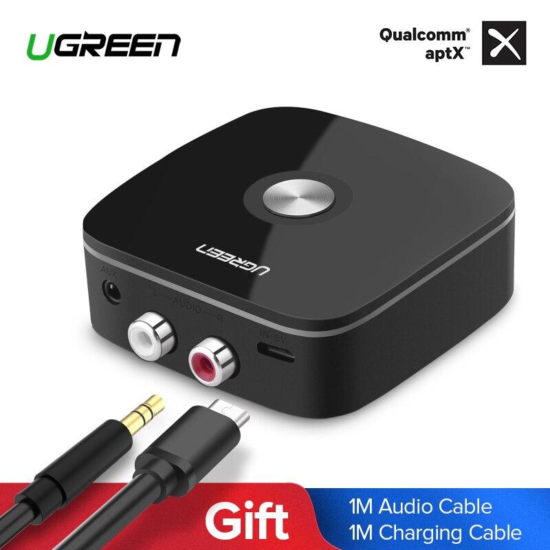 Ugreen Ricevitore Bluetooth 4.2 2RCA 3.5mm Martinetti Aux Ricevitore Audio Adattatore Musica per la Cuffia Senza Fili Per Auto Bluetooth Ricevitore