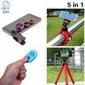 5in1 Fisheye Lentes olho de Peixe Macro 3 em 1 lentes Tripé obturador Bluetooth controle remoto para iphone 5s lente iphone 5 se 6 6 s 7 mais lente