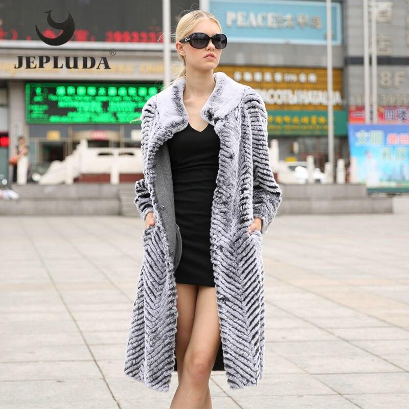 Des Bleu Mode gris Réel Ceintures Long Hiver Manteau Fourrure D'hiver Avec Rex Manteaux Col Femmes Veste Mandarin Jepluda Pleine De Pelt Lapin 3jqRc54AL