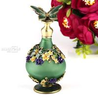 23ml Antique Butterfly Empty Crystal Metal Perfume Bottle Wedding Gift Art Decor