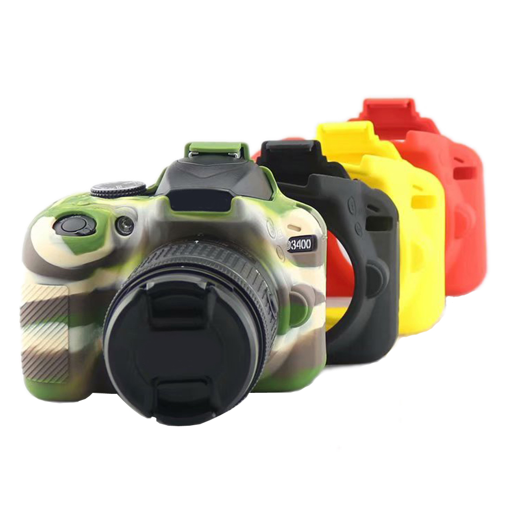 Soft <font><b>D3400</b></font> Camera Silicone <font><b>Case</b></font> Camera Bag For <font><b>Nikon</b></font> <font><b>D3400</b></font> Rubber Protective <font><b>Case</b></font> Cover Skin Red Black Yellow Camouflage image
