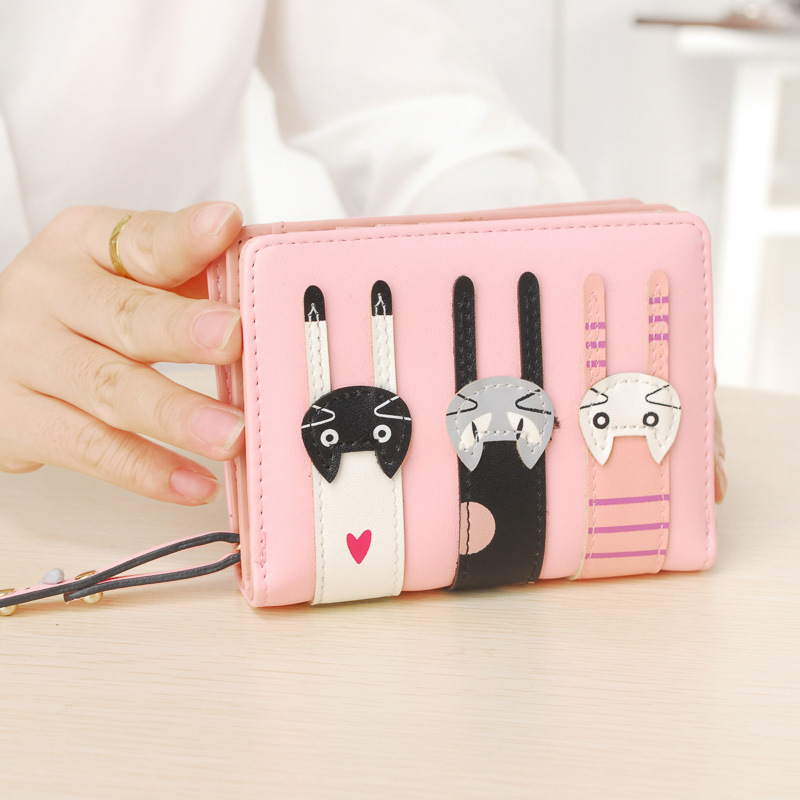 Wallet New Women Cute PU Leather Hasp Cartoon Cat Short Wallet Animal Change Purse Card Holder Girls Handbag 2016 new arriving pu leather short wallet the price is right and grand theft auto new fashion anime cartoon purse cool billfold