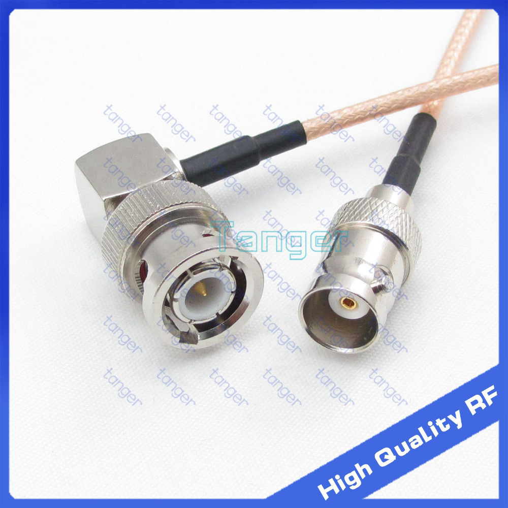 Tanger BNC male plug right angle 90 degree to BNC female jack 20cm 8inch RG316 RF Coaxial Pigtail Low Loss cable High Quality rf coaxial right angle bnc female connectors silver yellow 5 pcs