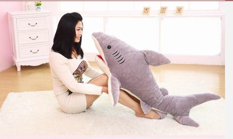 Gros jouet créatif requin en peluche peluche grand requin gris poupée cadeau d'anniversaire environ 120 cm