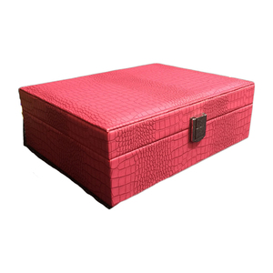 Image 4 - חדש דפוס עור מפוצל תכשיטי תיבת נסיכת תיבת אחסון באיכות גבוהה 4 צבע תכשיטי ארון אריזת מתנה לאישה