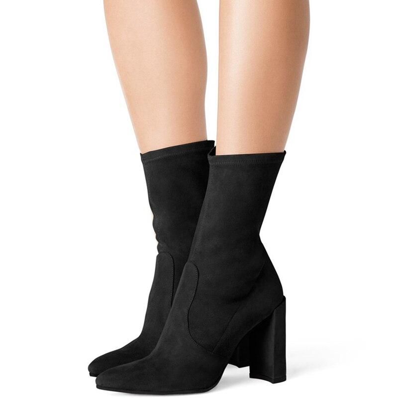 Talons Troupeau En Noir Carrés Nouvelles Femme a0176 Chaussures Femmes Noir blanc Mi 2018 Blanc Pointu Cuir Femelle Bottes Automne Tl mollet Bout lcK1J3FT