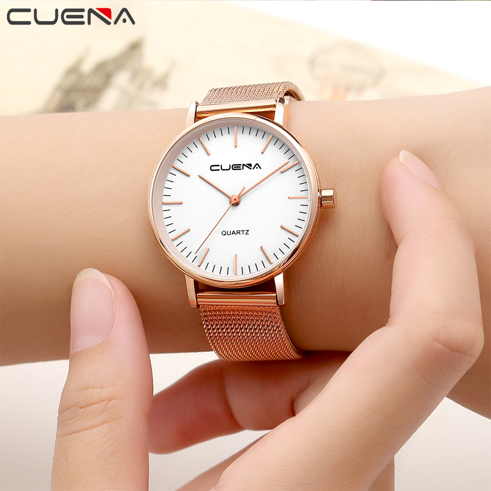 CUENA Women font b Watch b font Stainless Steel Wristwatches Simple Elegant Stable Style For Ladies