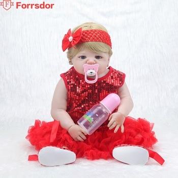 Forrsdor 55cm una muñeca de silicona suave con un tocado y un vestido rojo brillante bebe reborn corpo de silicona inteiro realista.