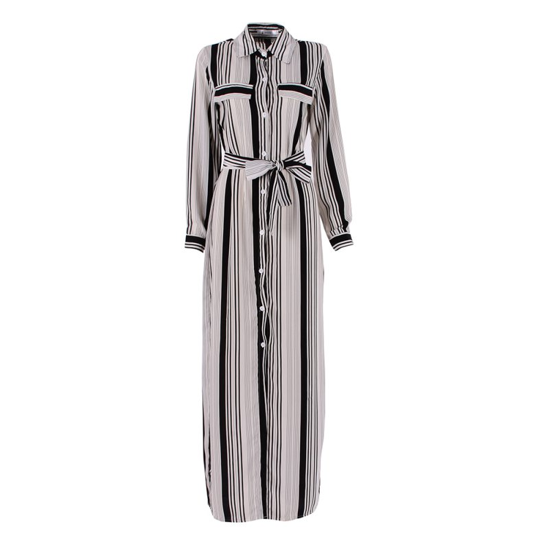 Black And White Striped Maxi Shirt Dress Long Elegant Maxi Party Dresses High Split Sexy Maxi Tie Waist Tunic Dress